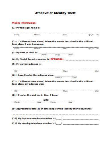 affidavit of identity theft example