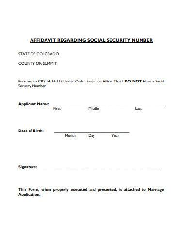 affidavit regarding social security number