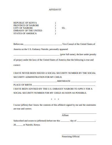 affidavit social security