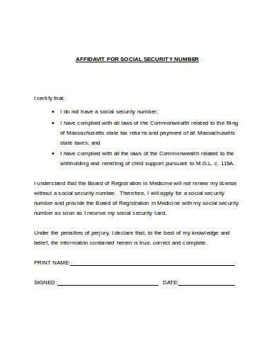 affidavit for social security number
