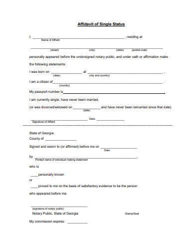 affidavit of single status