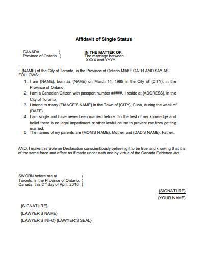 affidavit of single status in pdf