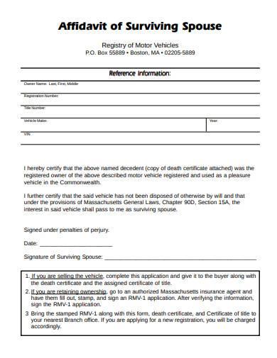 affidavit of surviving spouse