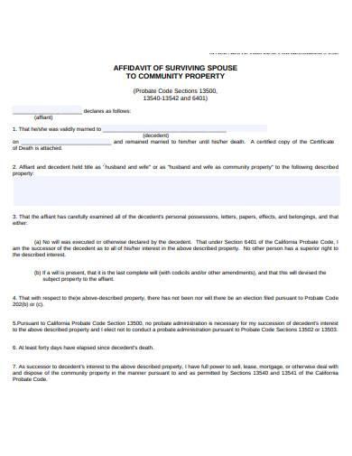 affidavit of surviving spouse to community property
