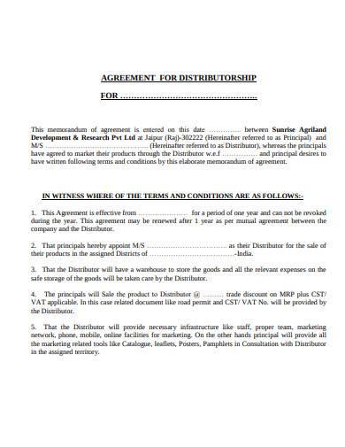 agreement for distributorship
