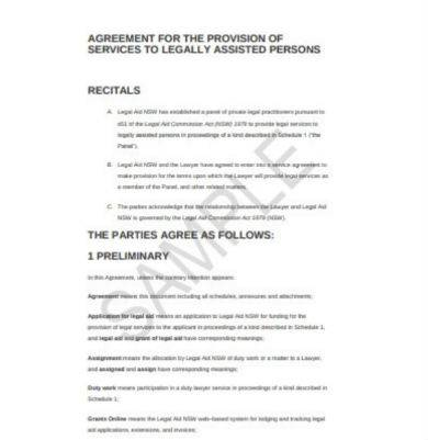 agreement for the provision of legal services