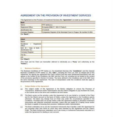 agreement on the provision of investment services in pdf