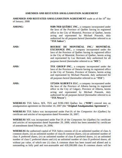 amended and restated amalgamation agreement sample in pdf