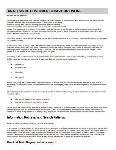 analysis of customer behaviour online