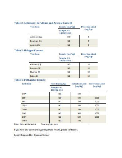 analytical testing report sample