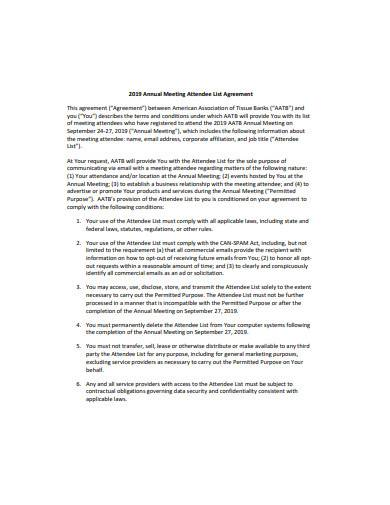 annual meeting attendee list agreement