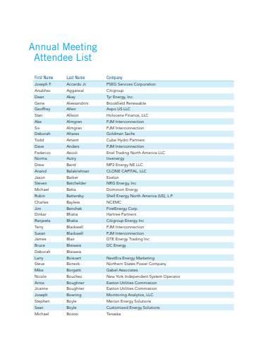 annual meeting attendee list sample