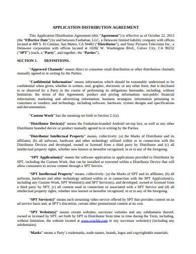 application retail distribution agreement