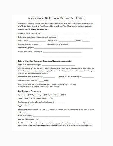application for no record of marriage certification
