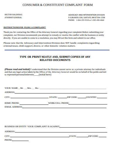 attorney consumer and constituent complaint form