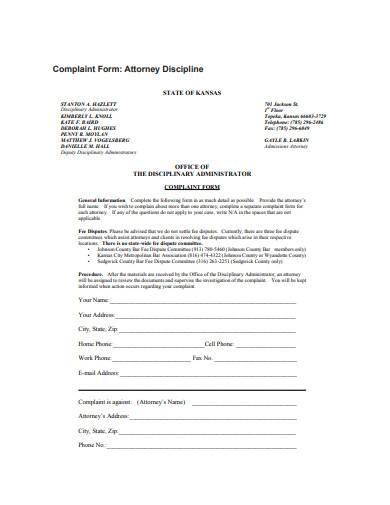attorney discipline complaint form