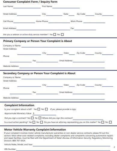 attorney general consumer complaint form