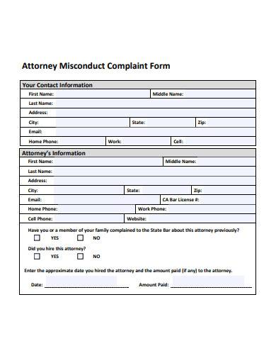 attorney misconduct complaint form