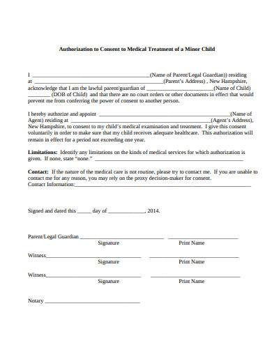 authorization to consent to medical treatment of a minor child