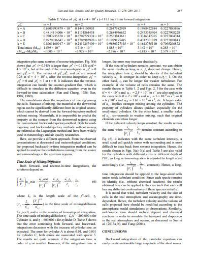 backward integration of diffusion equation