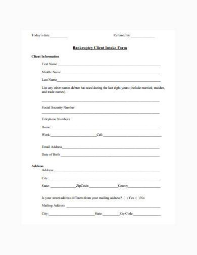 bankruptcy client intake form example