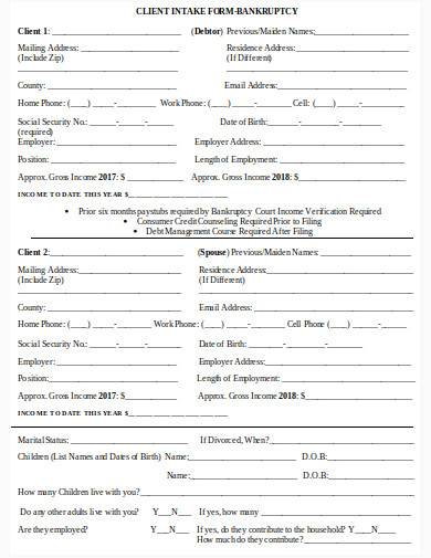 bankruptcy client intake form in doc