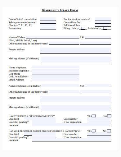 bankruptcy intake form sample