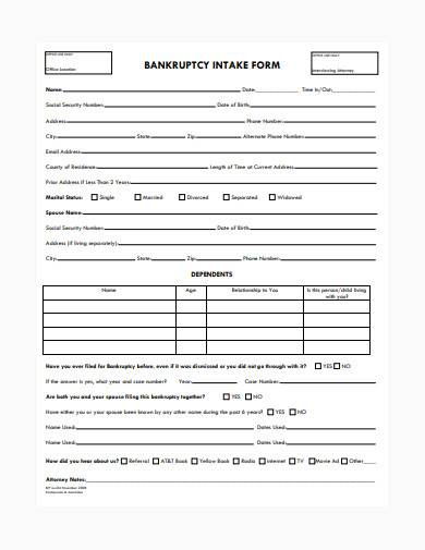 bankruptcy intake form in pdf