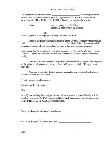 basic contractor letter of commitment