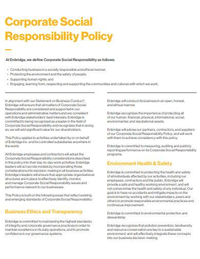 basic corporate social responsibility policy