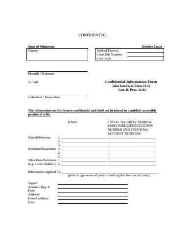basic defendant information form template