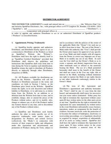 basic distributor agreement