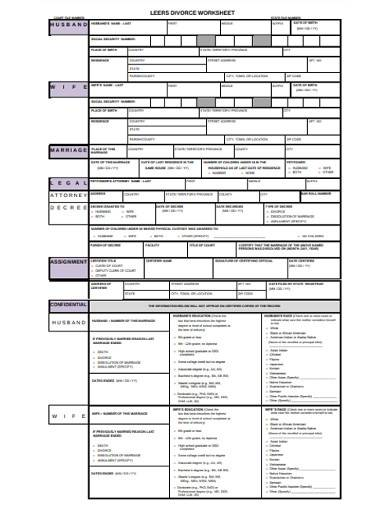 basic divorce worksheet