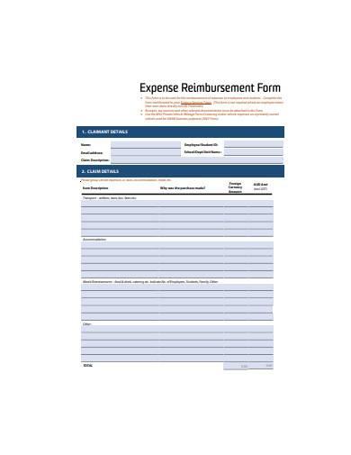 basic expense reimbursement form sample
