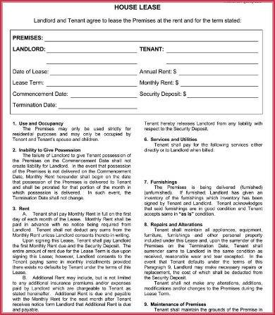 basic house rental agreement sample