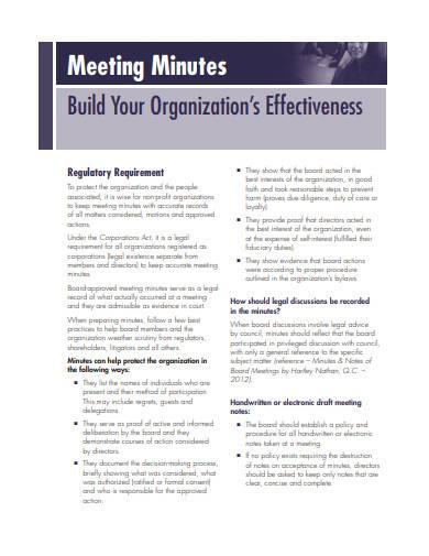 basic meeting minutes