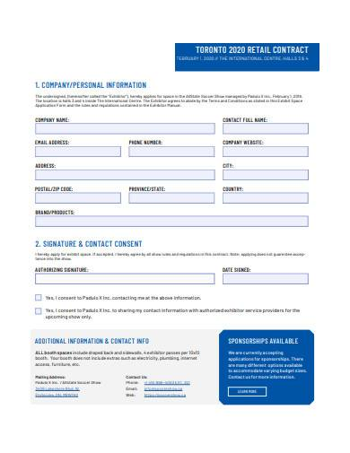 basic retail contract sample