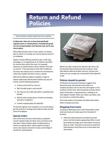 basic return and refund policy sample