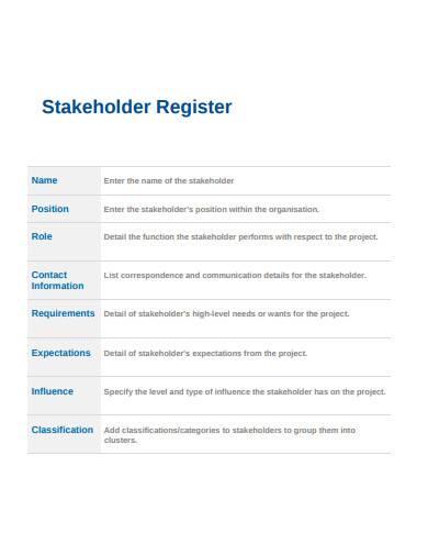 basic stakeholder register