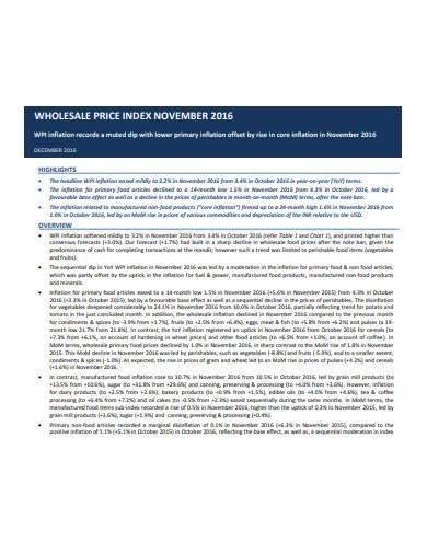 basic wholesale price index template