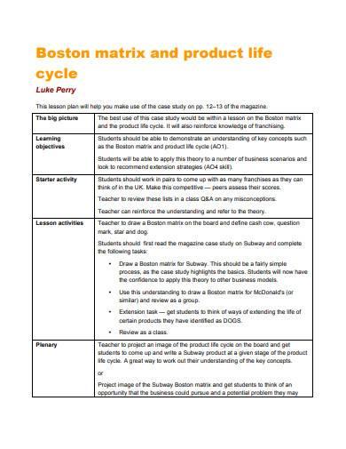 boston matrix and product life cycle