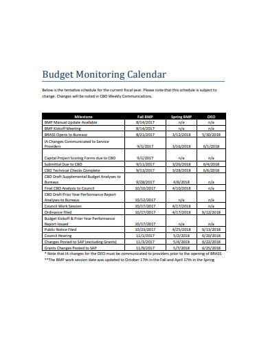 budget monitoring calendar sample