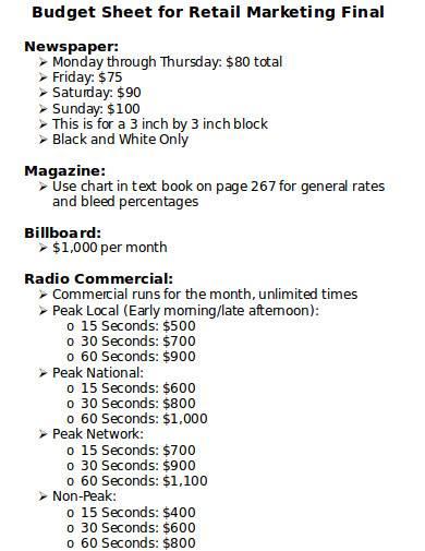 budget sheet for retail marketing