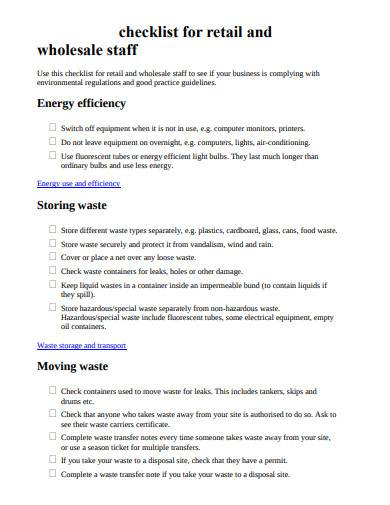 business checklist for retail and wholesale staff