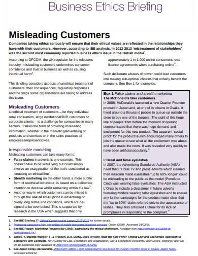 business ethics misleading customers