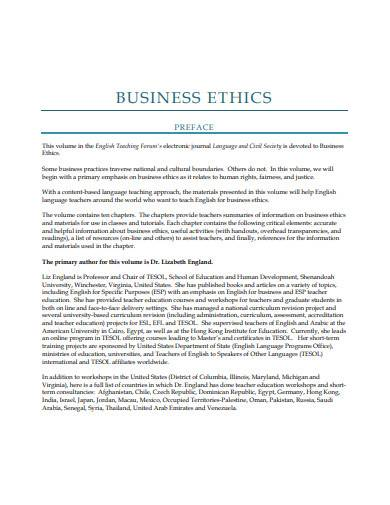 business ethics sample
