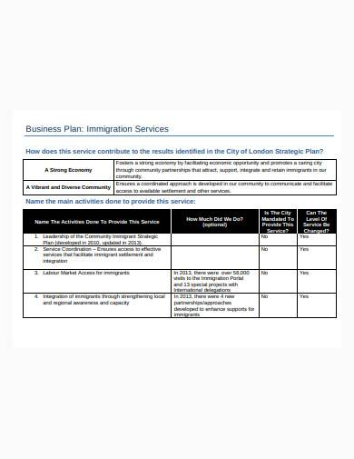 business plan immigration service template