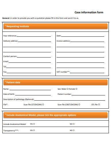 case information form