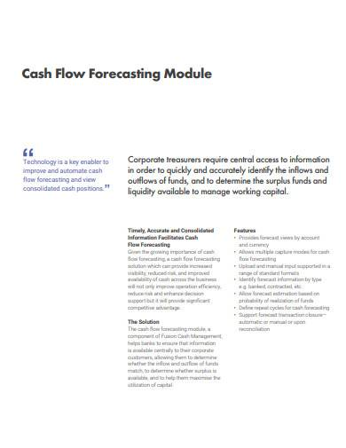 cash flow forecasting module template