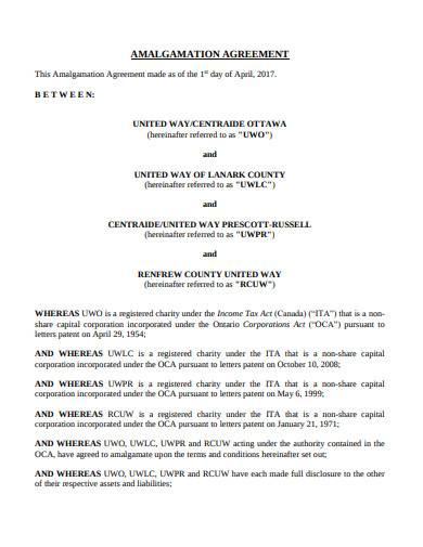 charity amalgamation agreement sample in pdf